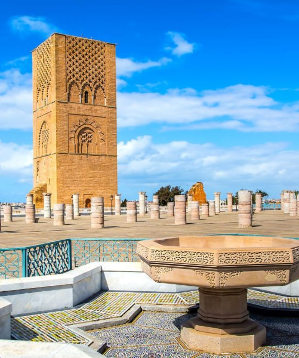 Beautiful square with Hassan tower at Mausoleum of Mohammed V in Rabat, Morocco on sunny day