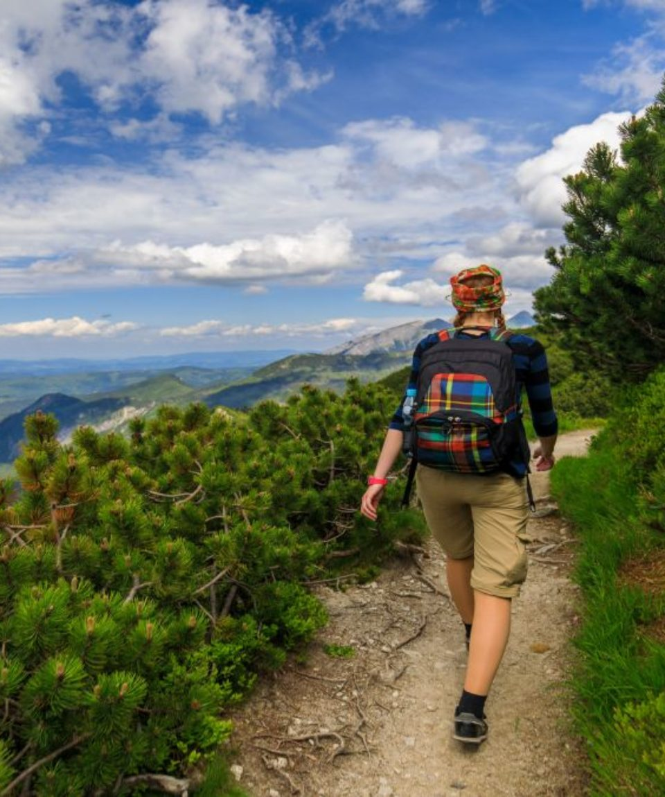 Female tourist hiking in Tatra mountains in summer