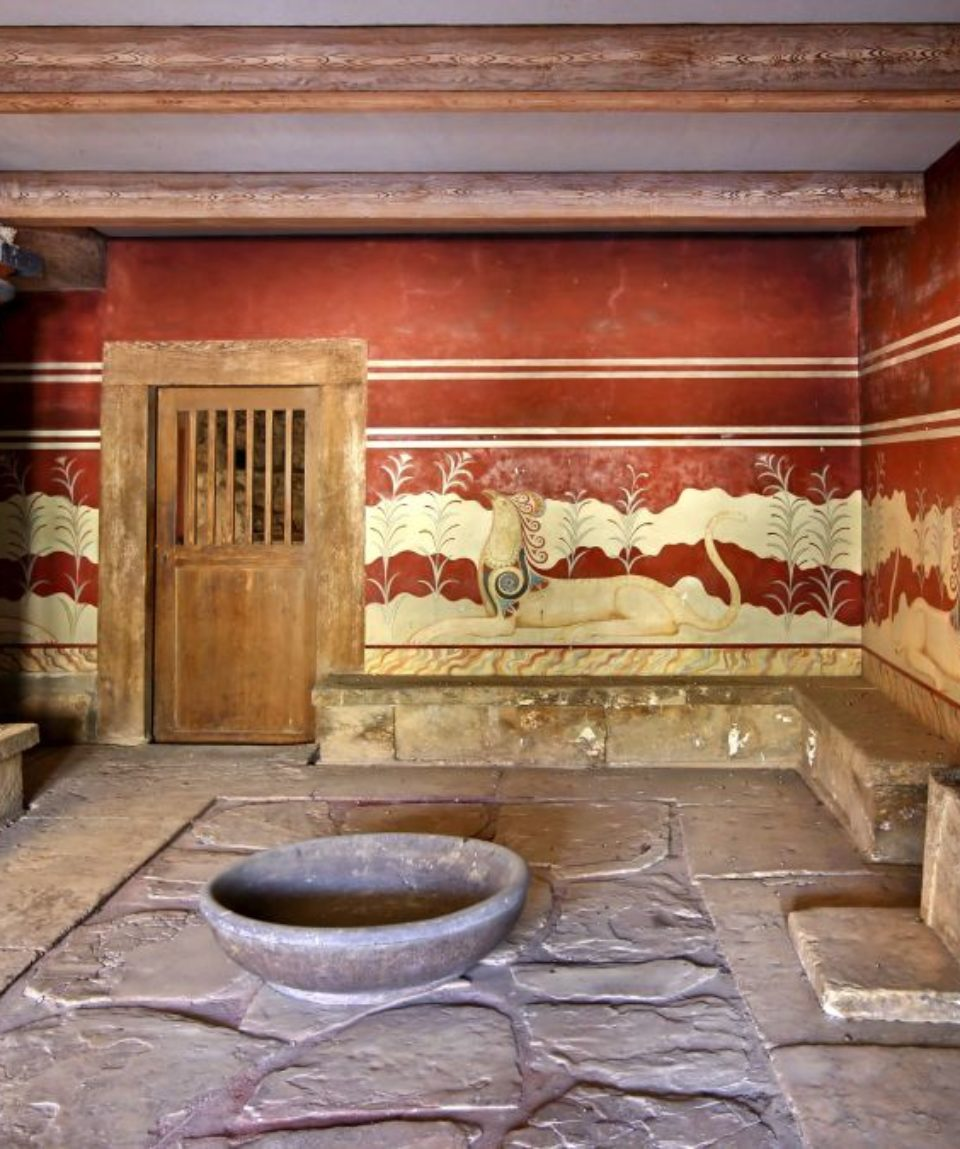 The hall of the throne in the Minoan Palace of Knossos, Heraklion, Crete, Greece.