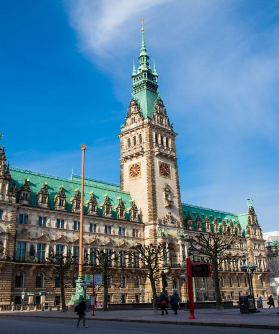 Hamburg City Hall building located in the Altstadt quarter in the city center at the Rathausmarkt square in a beautiful early spring day