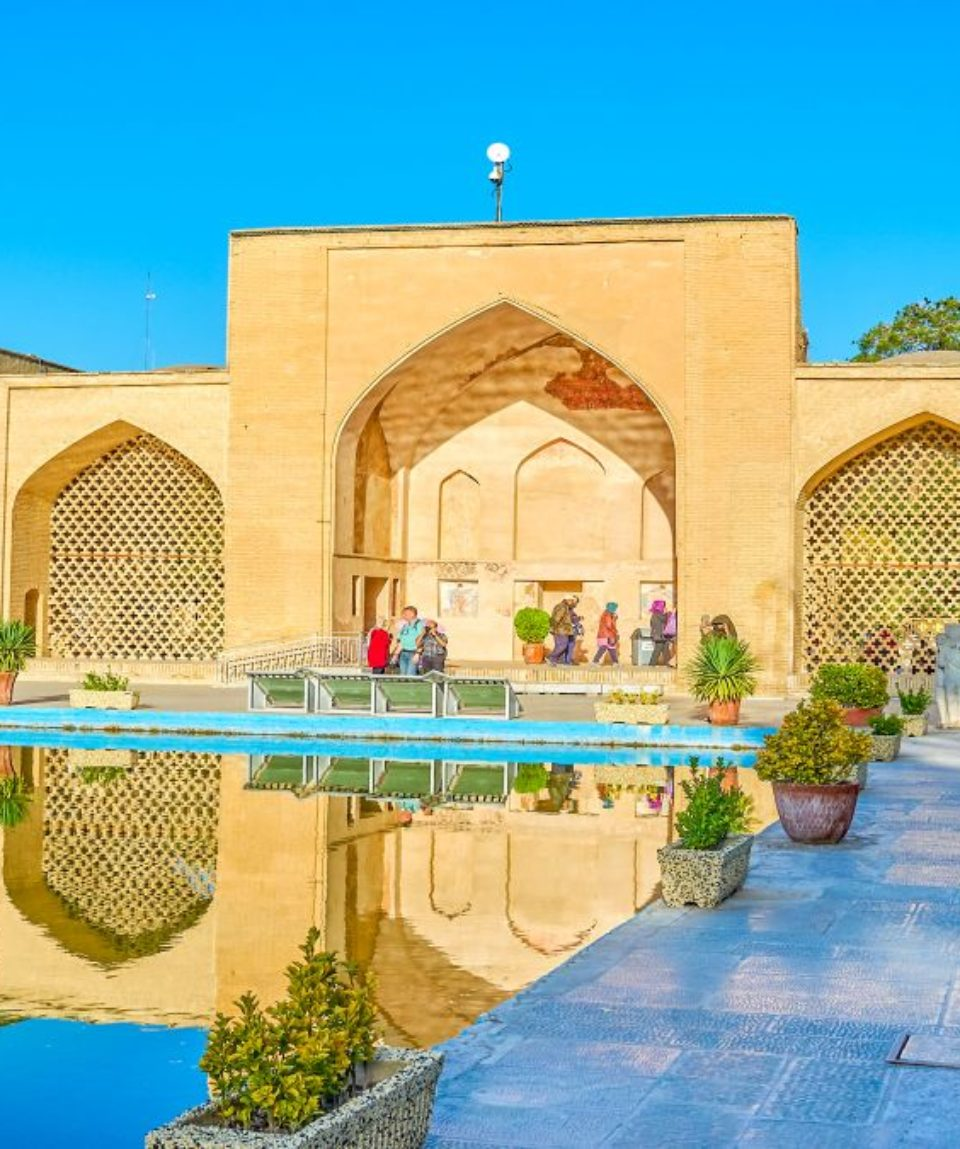 The rear side of the gates of Chehel Sotoun Palace in Isfahan, Iran